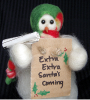 """Extra! Extra! Santa's Coming!"" Wooly® Primitive Snowmen"
