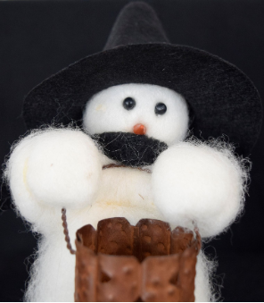 """Tricks Or"", Wooly® Snowman, Handcrafted Snowman"