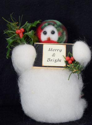 """Merry & Bright"" Wooly® Snowman, Handcrafted Gift"