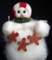 Wooly® Primitive Snowman Holding Gingerbread Men