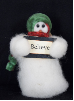 """Believe"" Wooly® Snowman, Handcrafted Gift (SKU: 10505)"