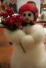 """Berry Merry"" Wooly® Snowman, Handcrafted Gift (SKU: 10513)"
